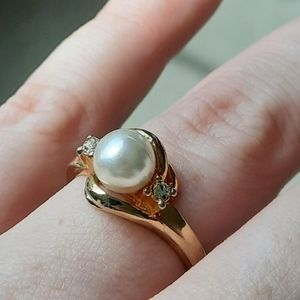 2/$15 Gold Toned Faux Pearl Ring size 9.75